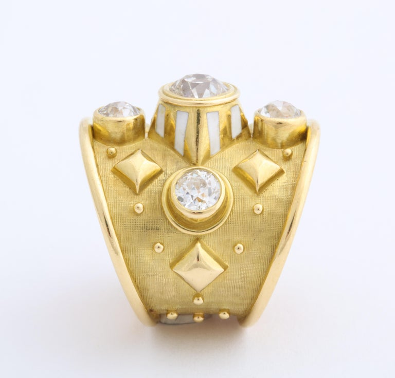 Women's or Men's Elizabeth Gage 18 Karat Gold Ring with Diamonds For Sale