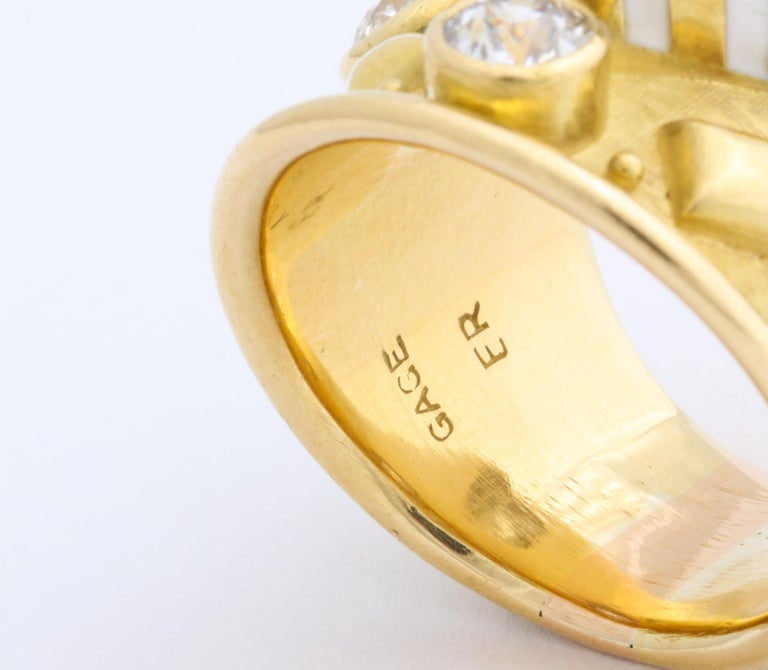Elizabeth Gage 18 Karat Gold Ring with Diamonds For Sale 1