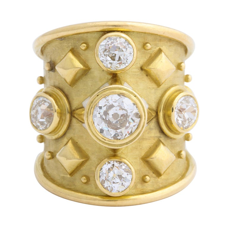 Elizabeth Gage 18 Karat Gold Ring with Diamonds For Sale