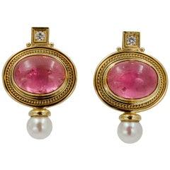 Elizabeth Gage 18 KY Pink Tourmaline Diamond Clip Back Earrings, circa 1970s