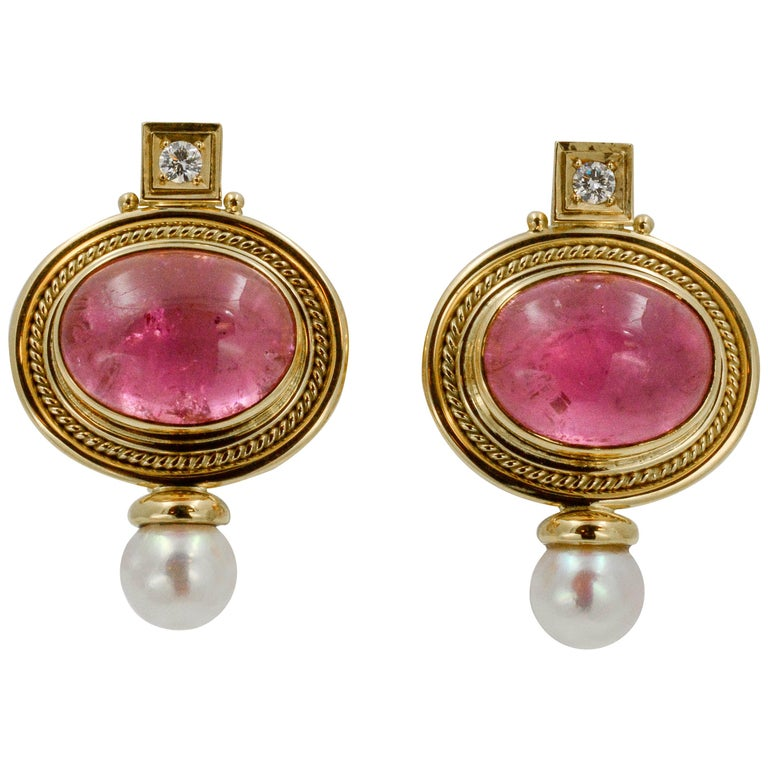 Elizabeth Gage 18 KY Pink Tourmaline Diamond Clip Back Earrings, circa 1970s