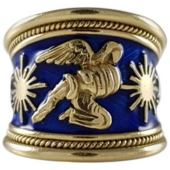 Elizabeth Gage 18k Gold and Blue Enamel Aquarius Tapered Templar Zodiac Ring