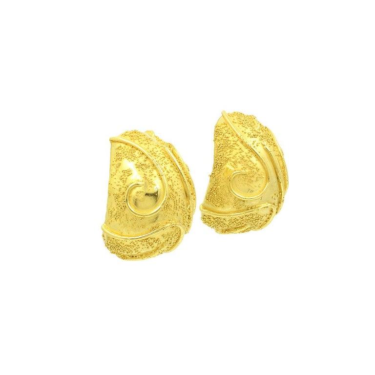 Modern Elizabeth Gage 18k Gold Dome Clip Earrings For Sale
