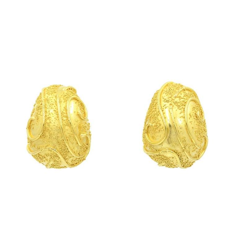 Women's Elizabeth Gage 18k Gold Dome Clip Earrings For Sale