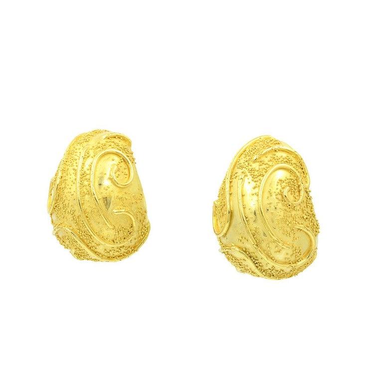 Elizabeth Gage 18k Gold Dome Clip Earrings For Sale 1