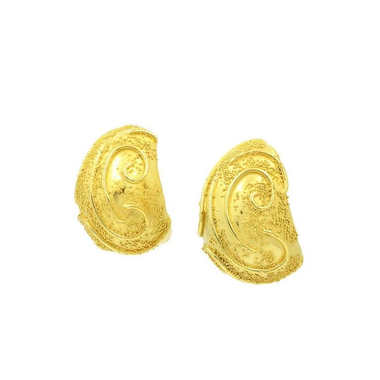 Elizabeth Gage 18k Gold Dome Clip Earrings For Sale 2