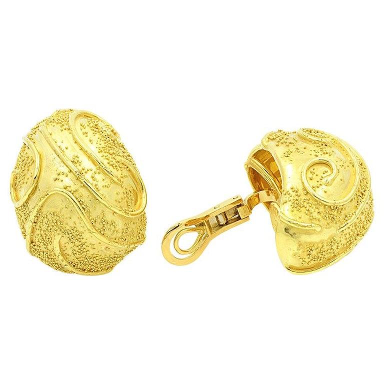Elizabeth Gage 18k Gold Dome Clip Earrings For Sale
