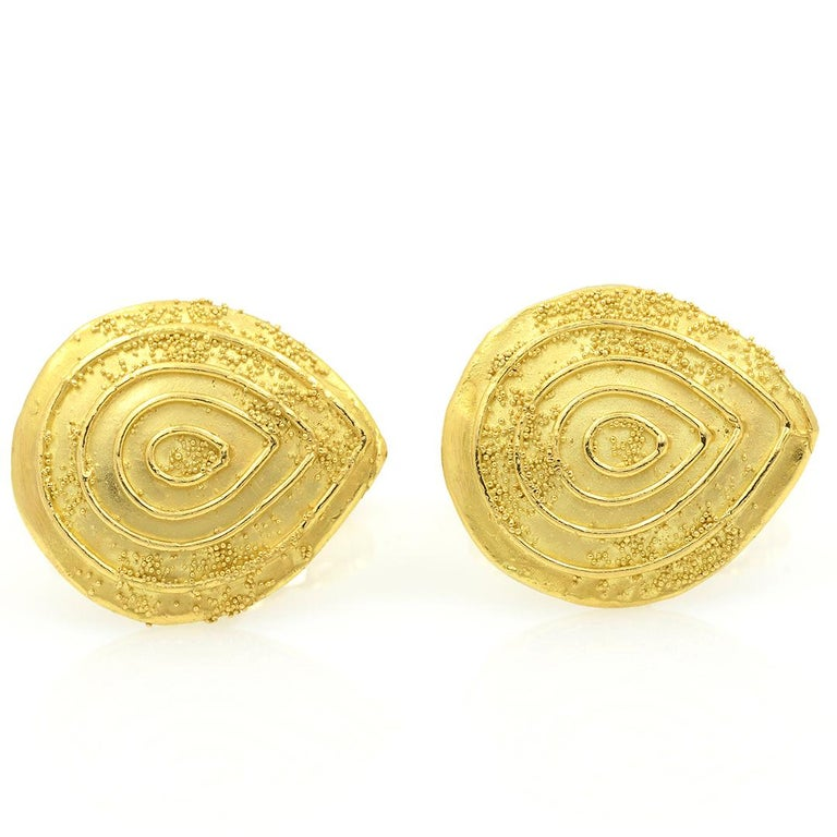 Modern Elizabeth Gage 18k Gold Granulated Cufflinks For Sale