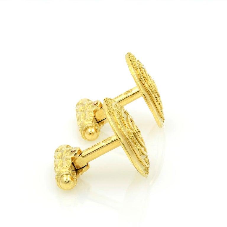 Men's Elizabeth Gage 18k Gold Granulated Cufflinks For Sale
