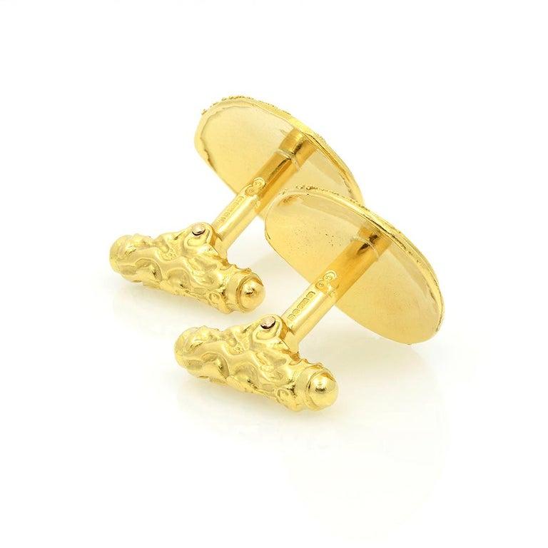 Elizabeth Gage 18k Gold Granulated Cufflinks For Sale 1