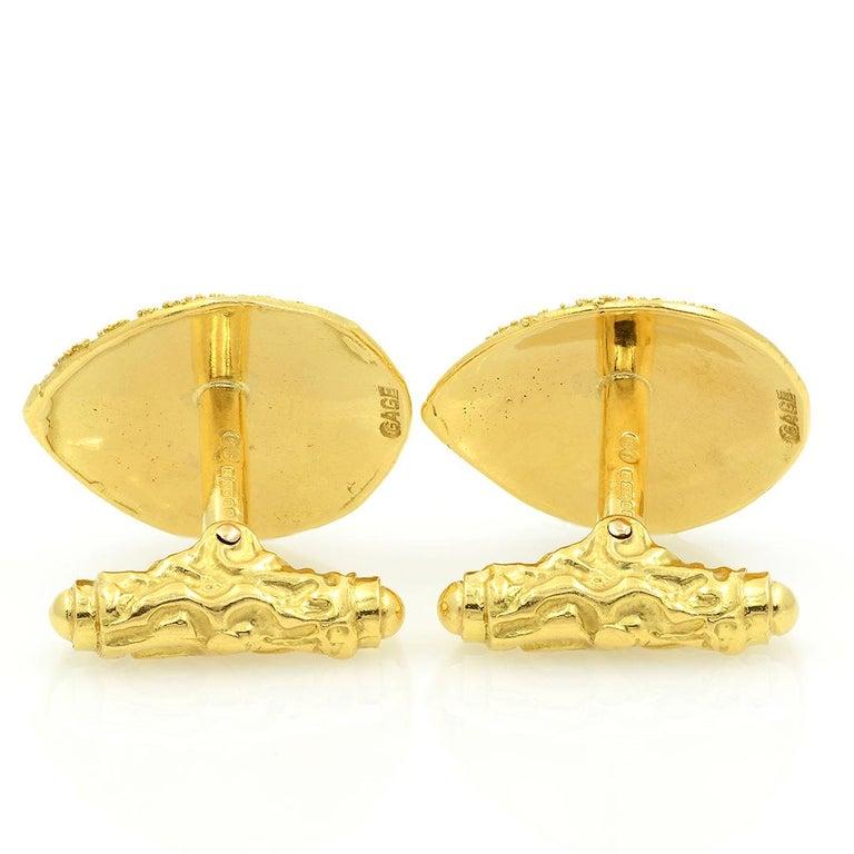 Elizabeth Gage 18k Gold Granulated Cufflinks For Sale 2