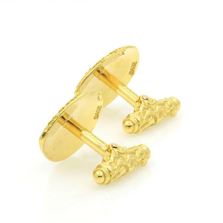 Elizabeth Gage 18k Gold Granulated Cufflinks For Sale 3