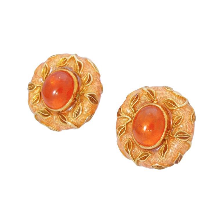 Elizabeth Gage 18k Gold Leaf Earrings Hessonite Garnet & Enamel Original Box 48G