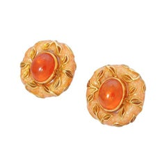Elizabeth Gage 18k Gold Leaf Earrings Hessonite Garnet & Enamel Original Box 48G