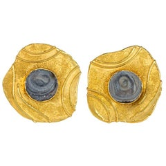 Elizabeth Gage 1970s Oversized Gold and Quartz Free-Form Clip Earrings