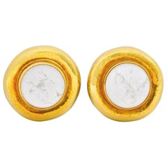 Elizabeth Gage 2001 Rock Crystal Mother of Pearl 18 Karat Gold Ear-Clip Earrings