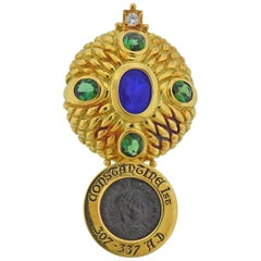 Elizabeth Gage Ancient Coin Tourmaline Diamond Intaglio Gold Brooch Pin