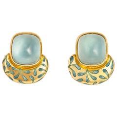 Elizabeth Gage Aquamarine and Enamel Earrings