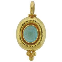 Elizabeth Gage Aquamarine Cabochon Gold Pendant