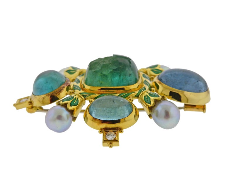 Impressive 18k gold Elizabeth Gage brooch, set with aquamarine cabochons and intaglio, surrounded with 0.40ctw in G/VS diamonds and pearls. Brooch is 65mm x 58mm. Weight is 55.6 grams. Marked:  Gage, 750, English marks.