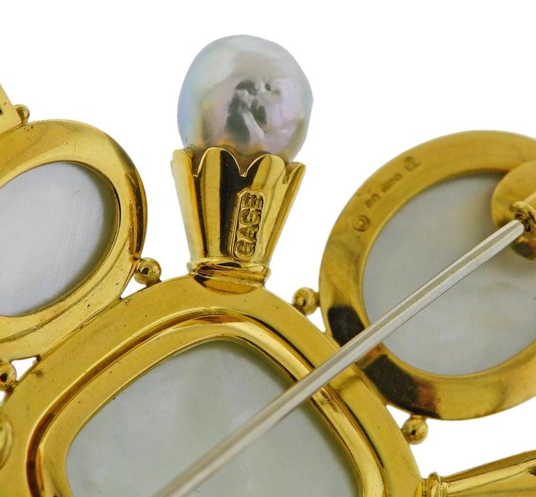 Women's Elizabeth Gage Aquamarine Pearl Diamond Gold Enamel Brooch For Sale