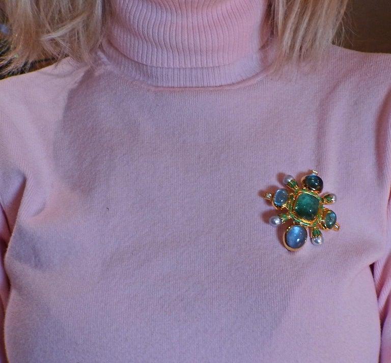 Elizabeth Gage Aquamarine Pearl Diamond Gold Enamel Brooch For Sale 1