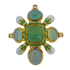 Elizabeth Gage Aquamarine Pearl Diamond Gold Enamel Brooch