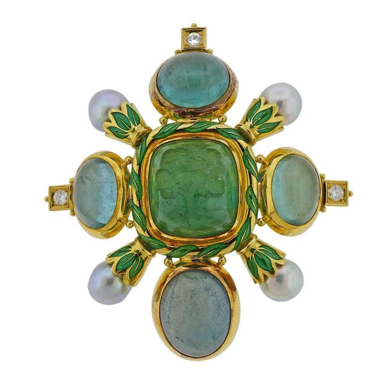 Elizabeth Gage Aquamarine Pearl Diamond Gold Enamel Brooch For Sale