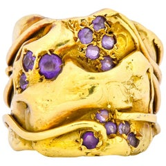 Elizabeth Gage British 1986 Vintage Amethyst 18 Karat Gold Band Ring
