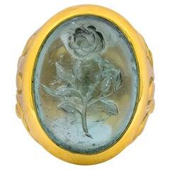 Elizabeth Gage British 1999 Vintage Aquamarine 18 Karat Gold Rose Ring