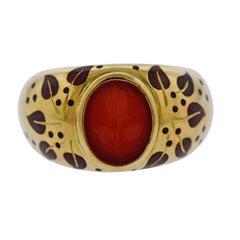 Elizabeth Gage Carnelian Intaglio Gold Enamel Ring