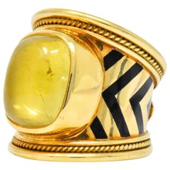 Elizabeth Gage Citrine Mother of Pearl Enamel 18 Karat Gold Cocktail Ring