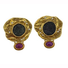 Elizabeth Gage Coin Ruby Diamond Gold Earrings