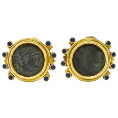 Elizabeth Gage Constantine Roman Ancient Coin 18 Karat Gold Ear-Clip Earrings