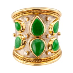 Elizabeth Gage Diamond Jadeite Gold Cigar Band Ring
