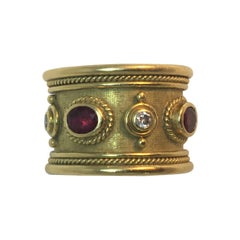 Elizabeth Gage Diamond Ruby Templar Band Ring