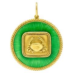 Elizabeth Gage Enamel 18 Karat Gold Cancer Zodiac Pendant Charm