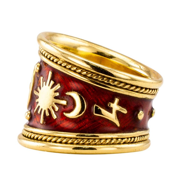 Contemporary Elizabeth Gage Enamel Gold Gemini Cigar Band Ring For Sale