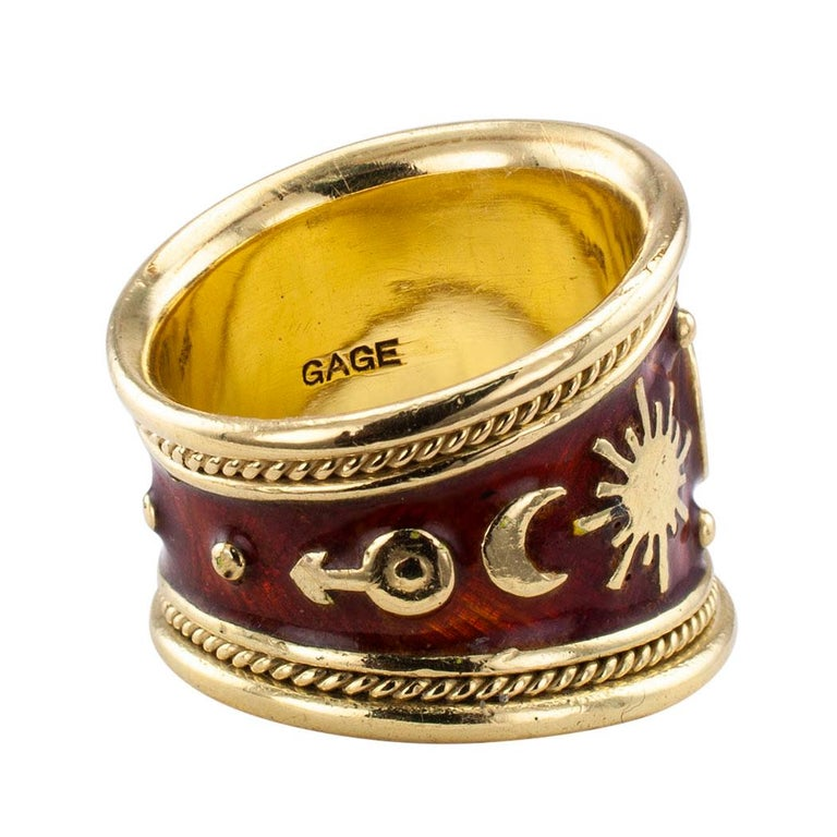 Women's Elizabeth Gage Enamel Gold Gemini Cigar Band Ring For Sale