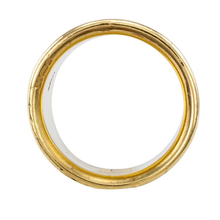 Elizabeth Gage Enamel Gold Gemini Cigar Band Ring For Sale 1