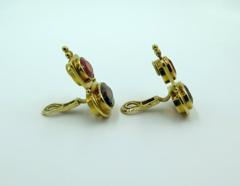 Elizabeth Gage Fire Opal, Andalusite and Gold Earrings In Excellent Condition For Sale In New York, NY