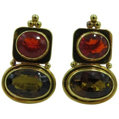 Elizabeth Gage Fire Opal, Andalusite and Gold Earrings