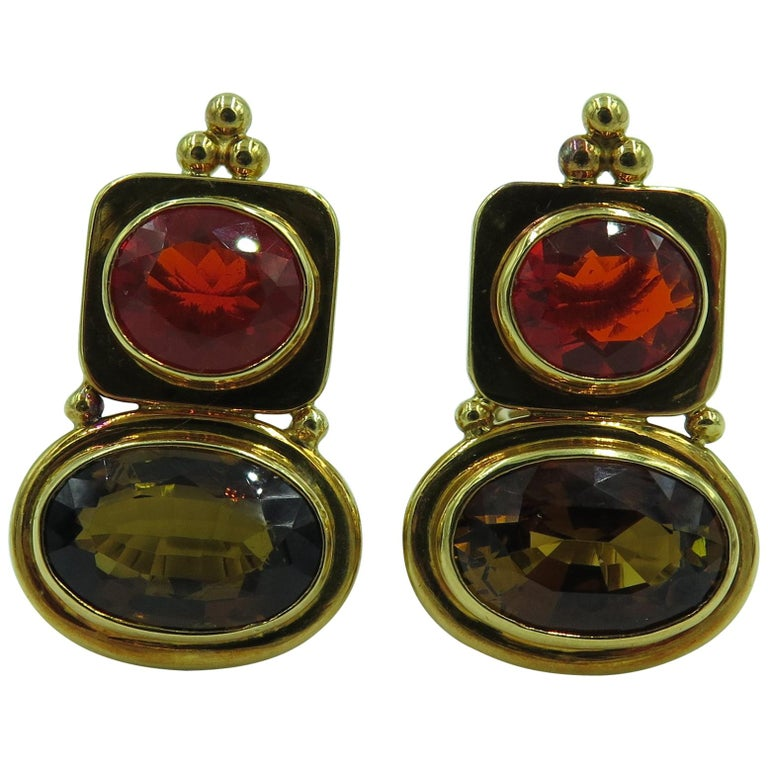 Elizabeth Gage Fire Opal, Andalusite and Gold Earrings For Sale