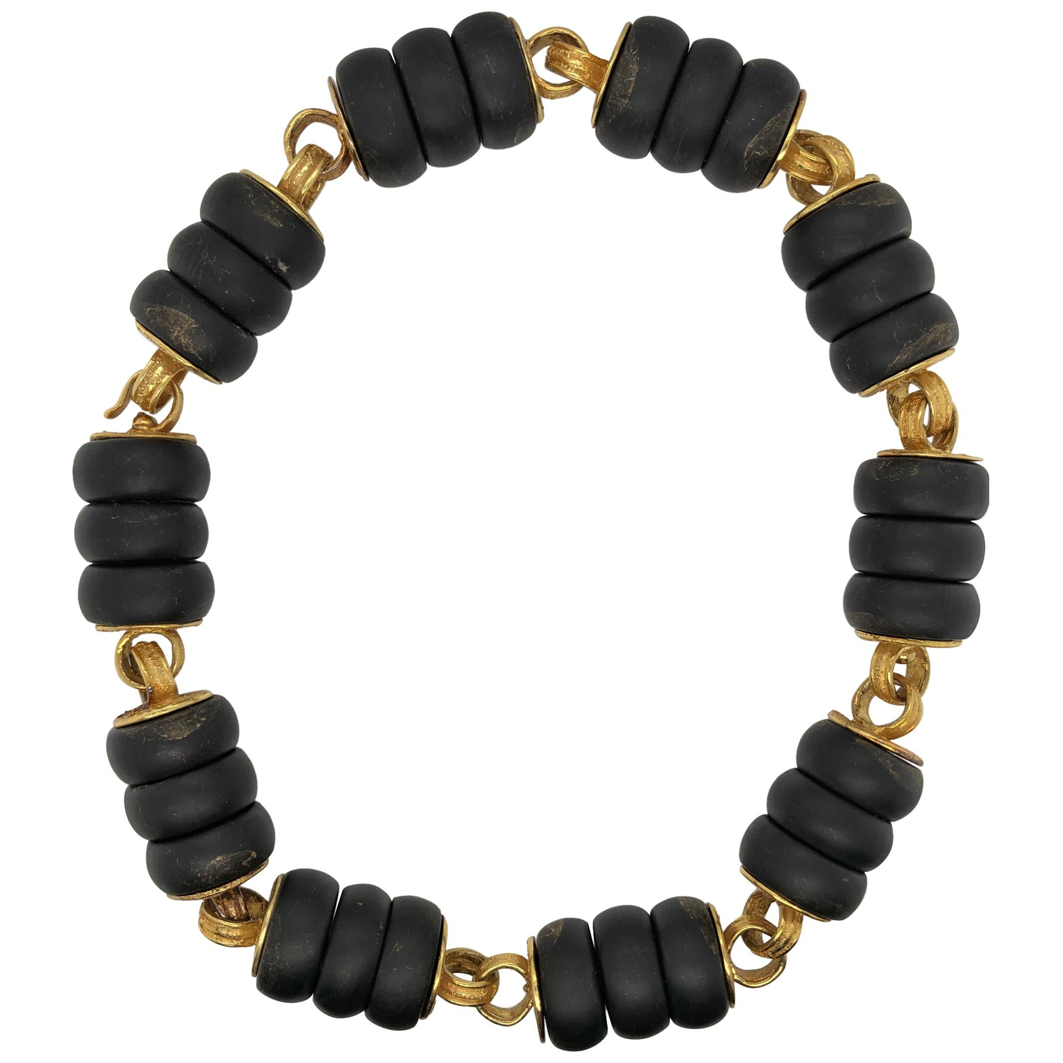 Elizabeth Gage Gold and Bronze Bead Necklace