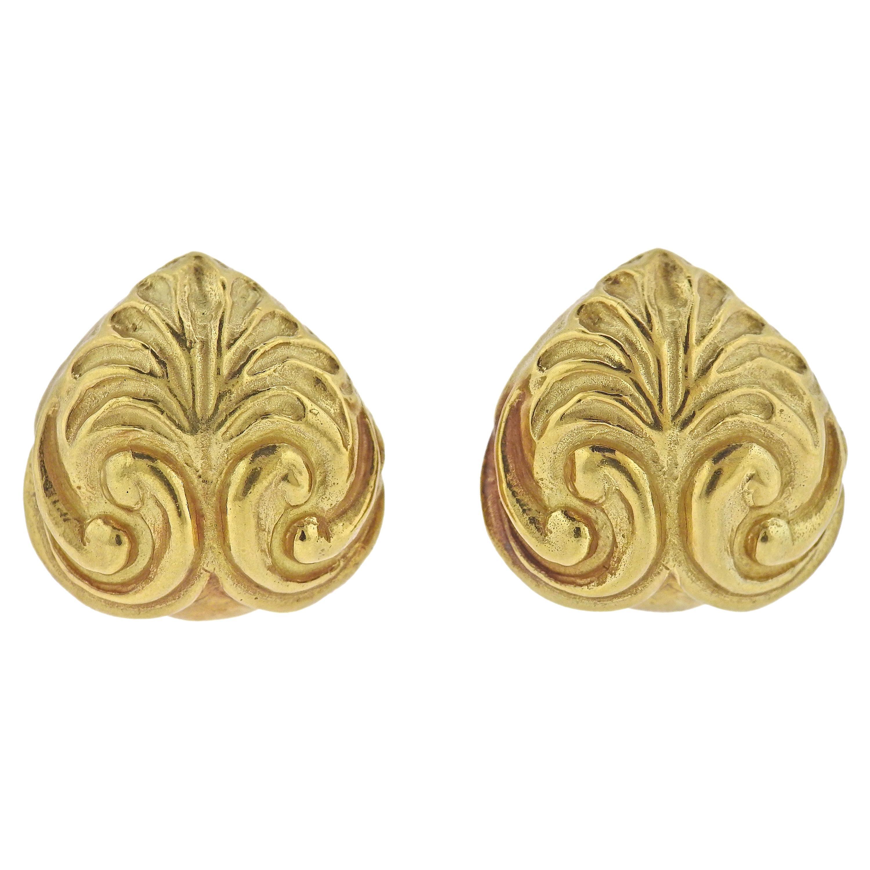 Elizabeth Gage Gold Swirl Earrings