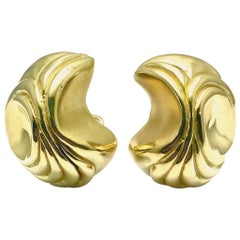 Elizabeth Gage Handcrafted 18 Karat Yellow Gold Domed Retro Design Clip Earrings