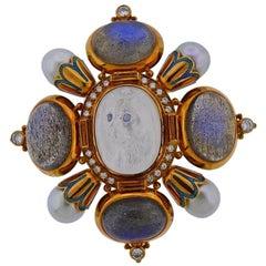 Elizabeth Gage Labradorite Moonstone Cat Diamond Pearl Gold Kiss Brooch