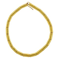Elizabeth Gage Molten Gold Tube Necklace