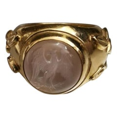 Elizabeth Gage Moonstone on Yellow Gold 18 Karat Ring