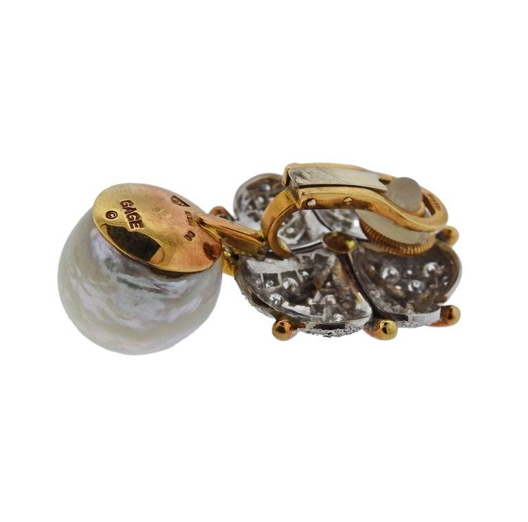 Women's or Men's Elizabeth Gage Pearl Diamond Gold Earrings For Sale